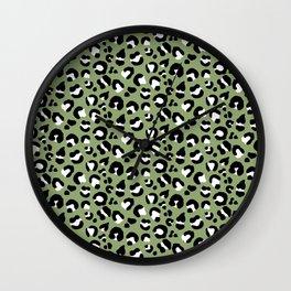 Leopard Print - Olive / Black / White Wall Clock