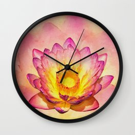 Gentle Pastel Watercolor Lotus Wall Clock