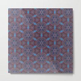 Gorgeous blue and orange beadwork inspired print Metal Print