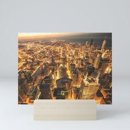 chicago aerial view Mini Art Print