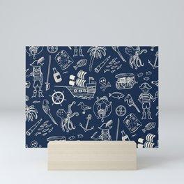 Pirate Play - Blue Mini Art Print