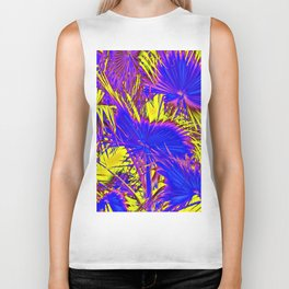 closeup palm leaf texture abstract background in blue pink and yellow Biker Tank
