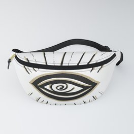Evil Eye Gold Black on White #1 #drawing #decor #art #society6 Fanny Pack