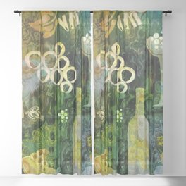Abstract Wine Background - Sepia Green Sheer Curtain