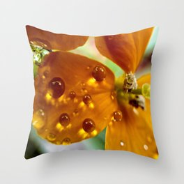 Tiny Dew Drops Macro Throw Pillow