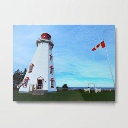 Panmure Island Lighthouse and Boat Metal Print
