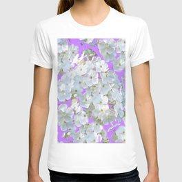DELICATE LILAC & WHITE LACE FLORAL GARDEN PATTERNS T-shirt