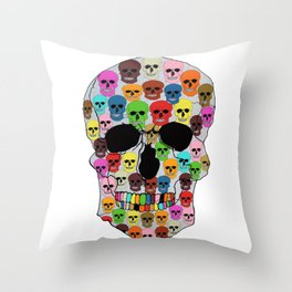 colorfull skull Throw Pillow