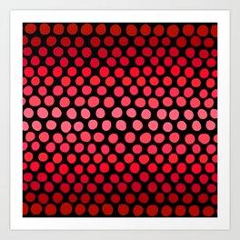 Juicy Red Apple Ombre Dots Art Print
