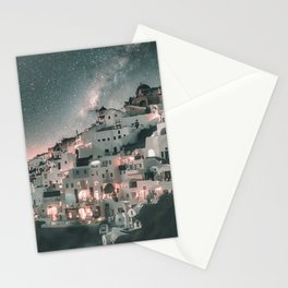 Santorini Greece Night Sky Stationery Cards