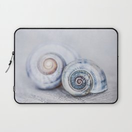 Blue Shells on white washed wood  pastel blues Laptop Sleeve