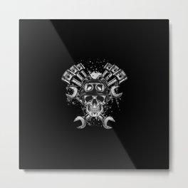 Grunge Distressed Biker Skull Metal Print