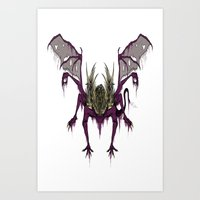dark souls Art Prints featuring Gaping Dragon (Dark Souls) by Strange things collection