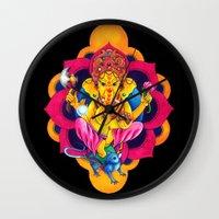 ganesh Wall Clocks featuring Ganesh by missfortunetattoo
