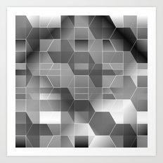 HexiPlaid Silver Art Print