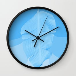 Tropical Banana Leave Pastel Blue Ombre Design Wall Clock