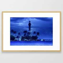 Blue Storm Lighthouse Framed Art Print