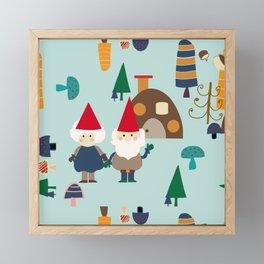 gnome blue Framed Mini Art Print