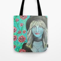 stevie nicks Tote Bags featuring Stevie by Olivia Harris Studio
