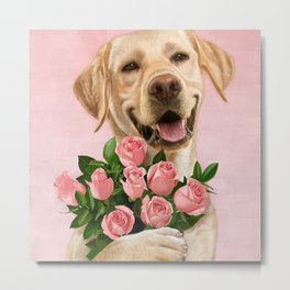 Happy Dog with Roses Metal Print