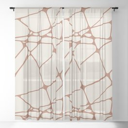 Cavern Clay SW 7701 Abstract Mosaic Pattern 1 on Creamy Off White SW7012 Sheer Curtain