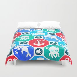 Marine Animals Geometric Pattern Duvet Cover