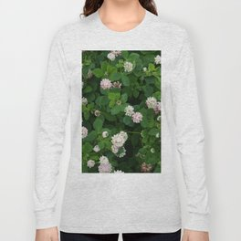 Clover flowers green and white floral field Long Sleeve T-shirt