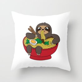 Sloth Ramen Noodles For Animal Lovers Shirt For Animal Lovers T-shirt Design Hot Egg Meat Spicy Throw Pillow