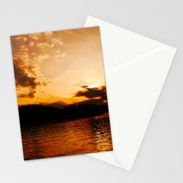 Foys Lake Montana at Sunset, Water Reflection, Neutral Colors Stationery Cards