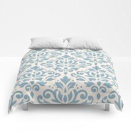 Scroll Damask Big Pattern Blue on Cream Comforters