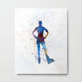Woman in roller skates 02 in watercolor Metal Print