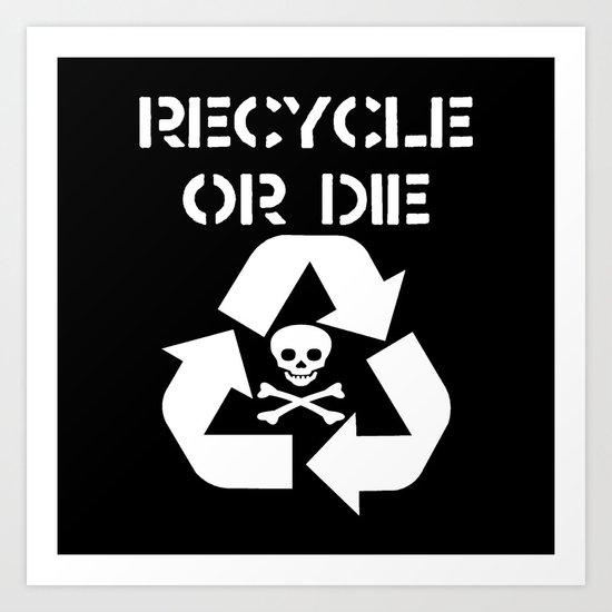Recycle White Art Print