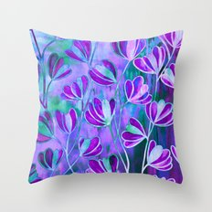 EFFLORESCENCE Lavender Purple Blue Colorful Floral Watercolor Painting Summer Garden Flowers Pattern Throw Pillow