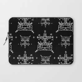 Baron Samedi Voodoo Veve Symbols in Black Laptop Sleeve