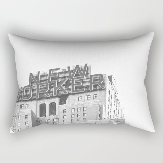 New Yorker Sign - NYC Black and White Rectangular Pillow