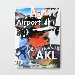 AKL Auckland airport code scribble  Metal Print