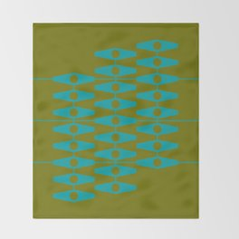 abstract eyes pattern aqua olive Throw Blanket