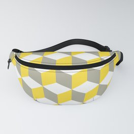 Diamond Repeating Pattern In Mustard Grey and White Fanny Pack
