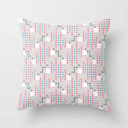 BRIXHAM, RETRO SQUARES: TURQUOISE, PINK on WHITE Throw Pillow