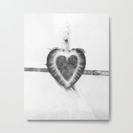 Black and White Stawberry Metal Print