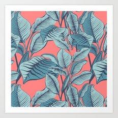 Pink Exotic Tropical Banana Palm Leaf Print Art Print