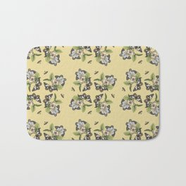 Butterflies and Camellias on Canary Yellow Pattern Bath Mat