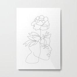 Minimal Line Art Woman Face III Metal Print