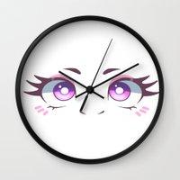 kawaii Wall Clocks featuring KAWAII by s3tok41b4