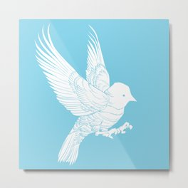 Bird Landing Metal Print