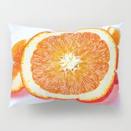 Orange Half And Two Quarters On White Pillow Sham
