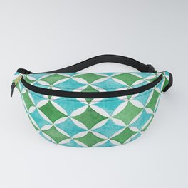 Watercolor Geometric Pattern in Cobalt Turquoise and Green  Fanny Pack