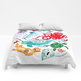 Ocean Creatures - Sea Animals Characters - Watercolor Comforters
