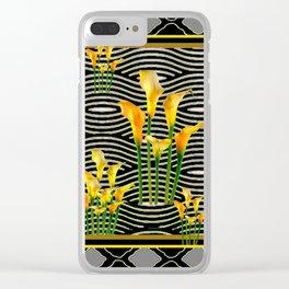 Golden Calla Lilies Black-Grey Harlequin Art Clear iPhone Case