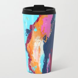 Blue pink mix hand painting Travel Mug